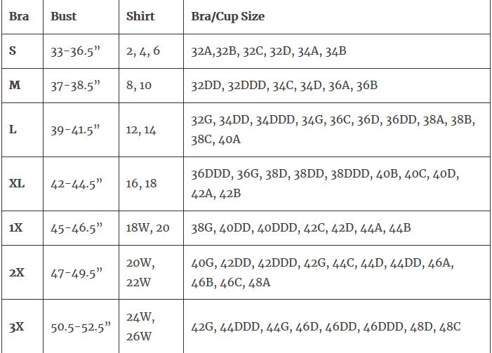 Genie Bra Size Chart Online